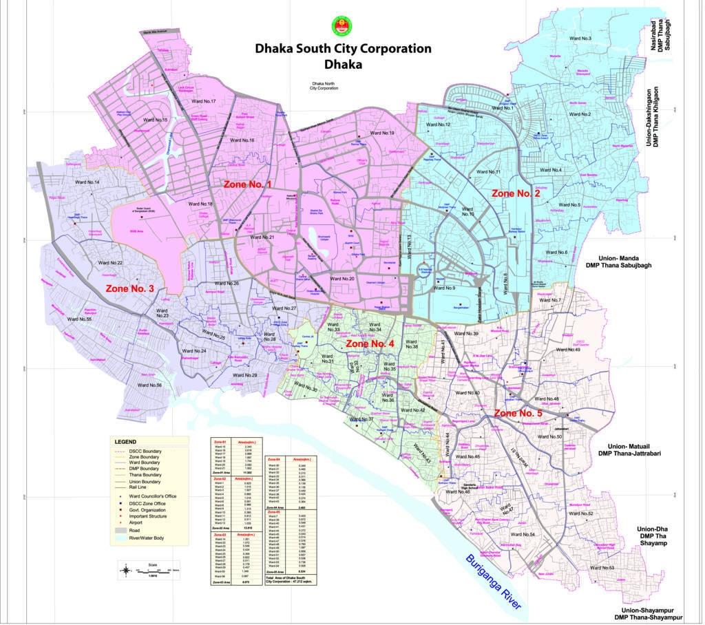 Dhaka South City Corporation Map