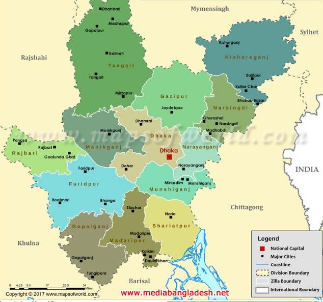 Dhaka Division map