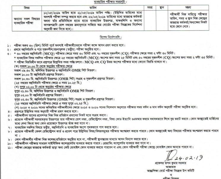 hsc examination instruction
